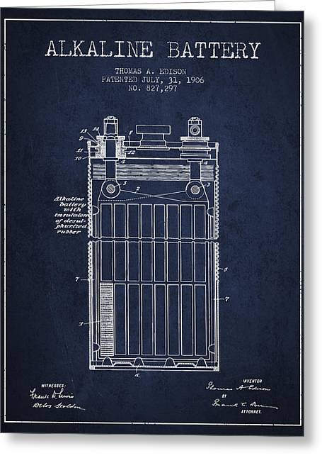 Thomas Edison Alkaline Battery From 1906 - Navy Blue Greeting Card by Aged Pixel