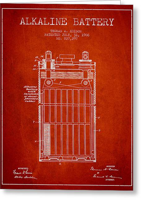 Thomas Edison Alkaline Battery From 1906 - Red Greeting Card by Aged Pixel