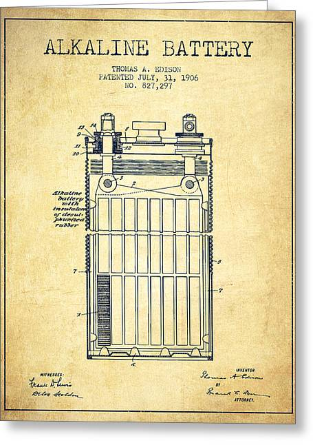 Thomas Edison Alkaline Battery From 1906 - Vintage Greeting Card by Aged Pixel
