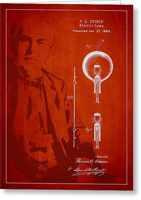 Thomas Edison Electric Lamp Patent Drawing From 1880 Greeting Card
