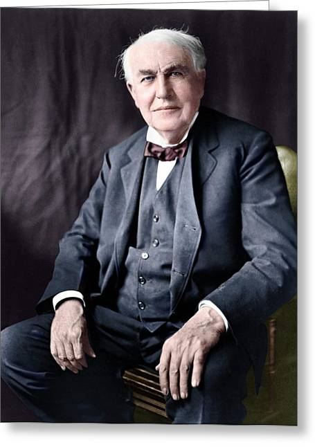 Thomas Edison Greeting Card by Library Of Congress