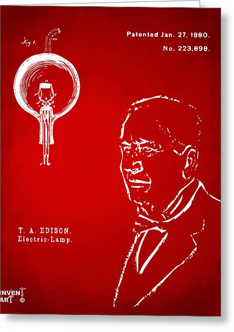 Thomas Edison Lightbulb Patent Artwork Red Greeting Card by Nikki Marie Smith