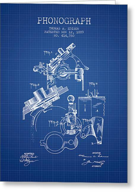 Thomas Edison Phonograph Patent From 1889 - Blueprint Greeting Card by Aged Pixel