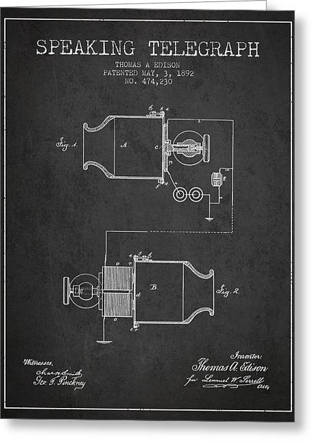 Thomas Edison Speaking Telegraph Patent From 1892 - Charcoal Greeting Card by Aged Pixel