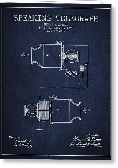 Thomas Edison Speaking Telegraph Patent From 1892 - Navy Blue Greeting Card by Aged Pixel