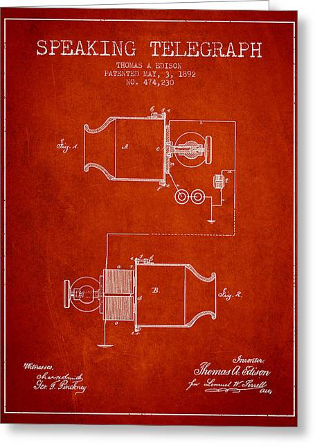 Thomas Edison Speaking Telegraph Patent From 1892 - Red Greeting Card by Aged Pixel