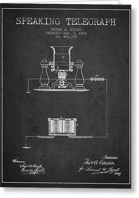 Thomas Edison Speaking Telegraph Patent From 1893 - Charcoal Greeting Card by Aged Pixel