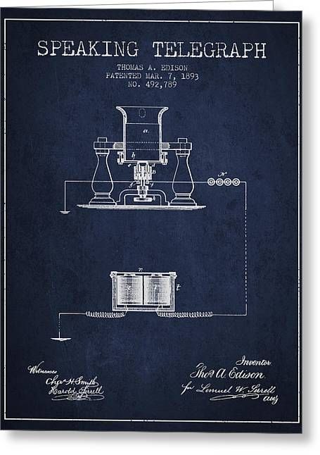 Thomas Edison Speaking Telegraph Patent From 1893 - Navy Blue Greeting Card by Aged Pixel
