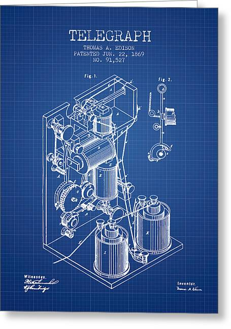 Thomas Edison Telegraph Patent From 1869 - Blueprint Greeting Card by Aged Pixel