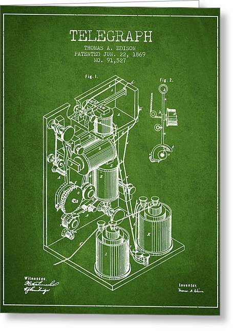 Thomas Edison Telegraph Patent From 1869 - Green Greeting Card by Aged Pixel