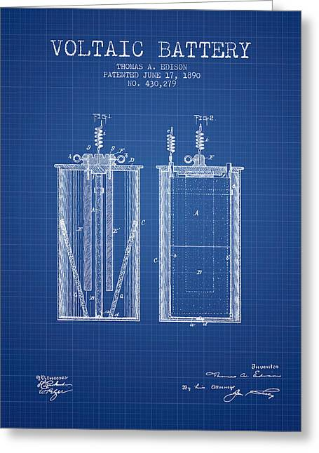 Thomas Edison Voltaic Battery Patent From 1890 - Blueprint Greeting Card by Aged Pixel