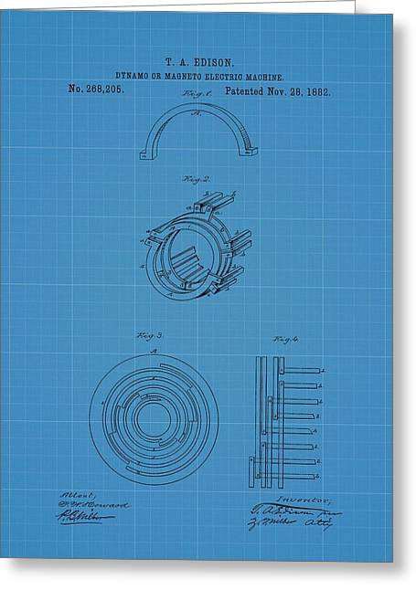 Thomas Edison's Dynamo Magneto Electric Machine Blueprint Patent Greeting Card by Dan Sproul