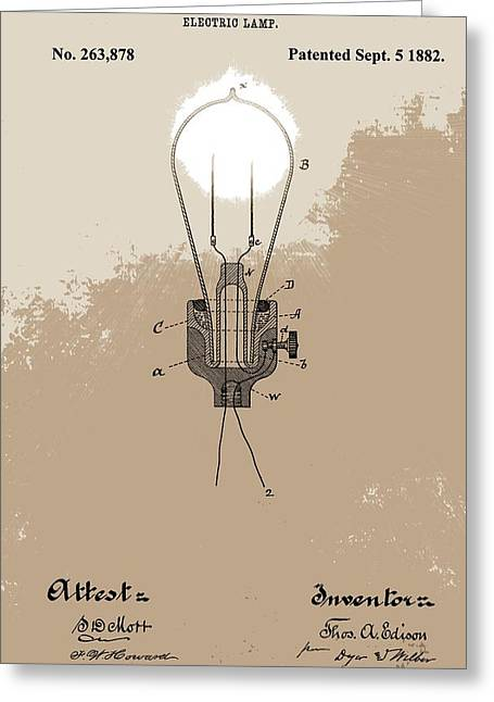 Thomas Edison's Electric Lamp Greeting Card by Dan Sproul