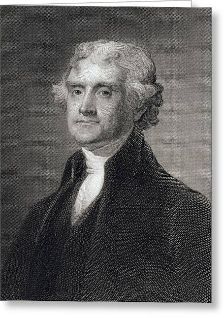 Thomas Jefferson Greeting Card by Gilbert Stuart