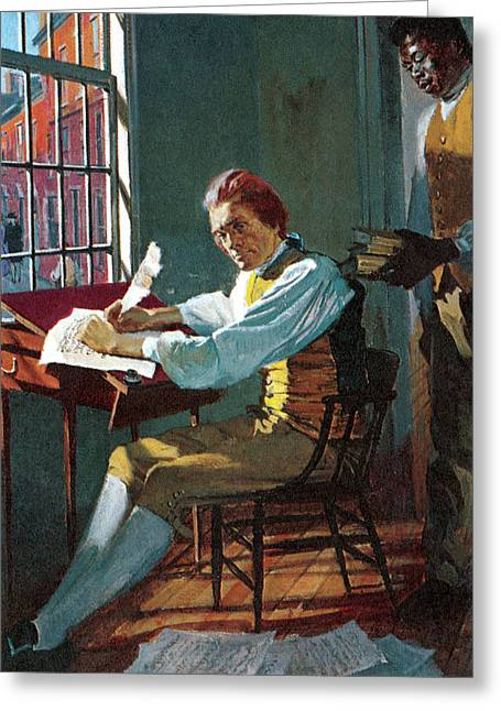 Thomas Jefferson In His Study Greeting Card by Stanley Meltzoff / Silverfish Press