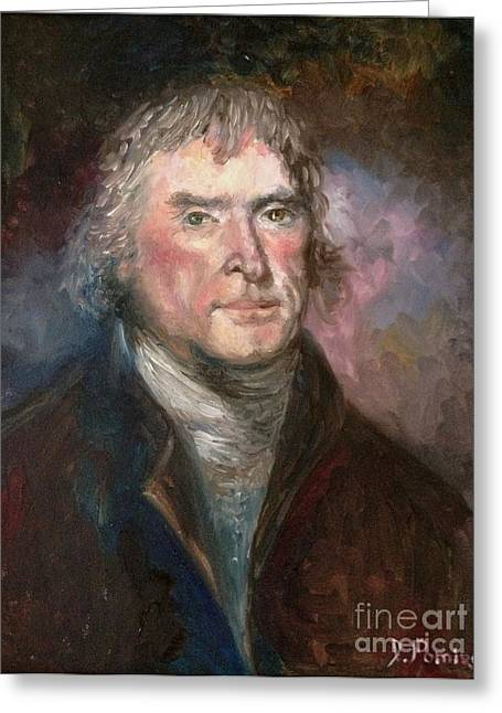 Thomas Jefferson Greeting Card by Irene Pomirchy