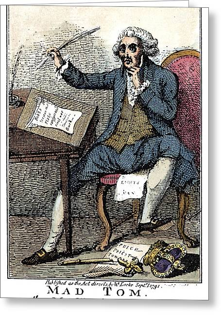 Thomas Paine Cartoon, 1791 Greeting Card