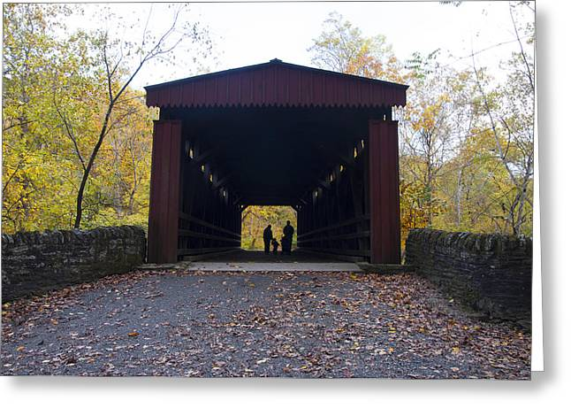 Thomas's Covered Bridge - Family Walk Greeting Card by Bill Cannon