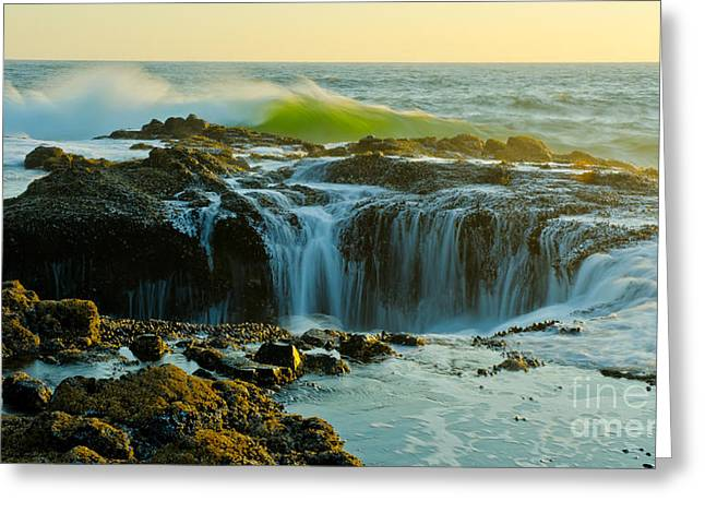 Thor's Well Greeting Card by Nick  Boren