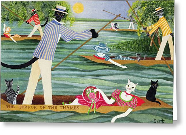 Those Summer Punts Oil On Canvas Greeting Card by Pat Scott