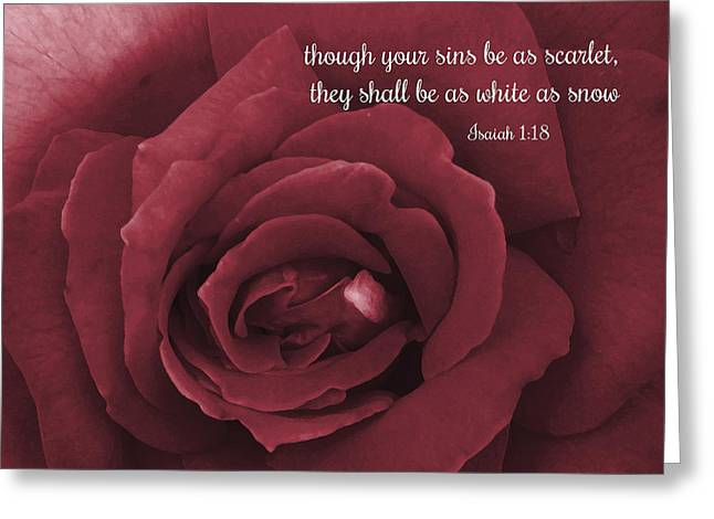 Though Your Sins Be As Scarlet Red Rose Greeting Card