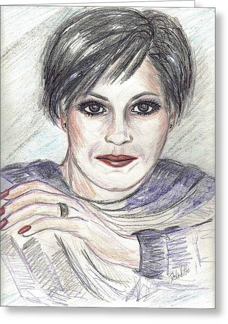 Greeting Card featuring the drawing Thoughtful by Desline Vitto