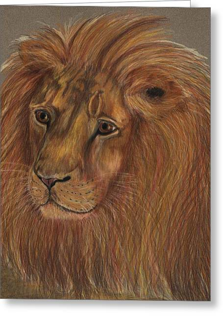 Greeting Card featuring the drawing Thoughtful Lion 2 by Stephanie Grant