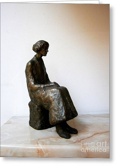 Thoughtful Woman Greeting Card by Nikola Litchkov