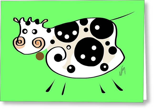 Thoughts And Colors Series Cow Greeting Card by Veronica Minozzi