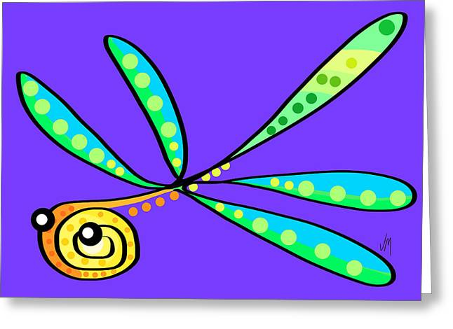 Thoughts And Colors Series Dragonfly Greeting Card by Veronica Minozzi