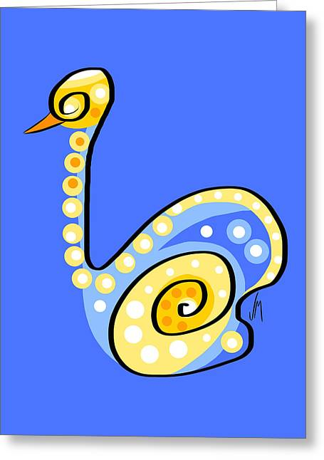Thoughts And Colors Series Swan Greeting Card by Veronica Minozzi