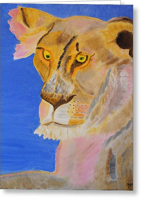 Greeting Card featuring the painting Thoughts Of A Feline by Meryl Goudey