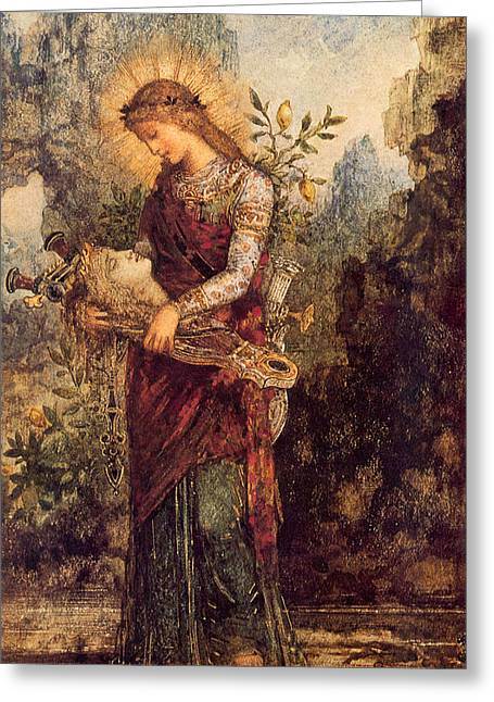 Thracian Girl Carrying The Head Of Orpheus Greeting Card by Gustave Moreau