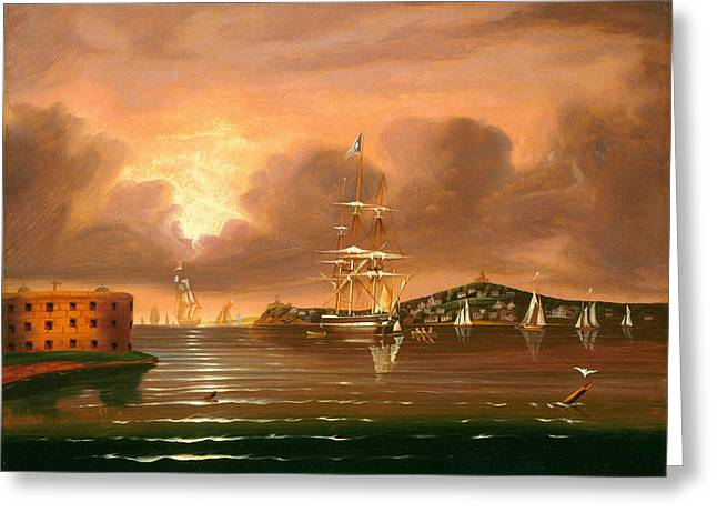 Threatening Sky. Bay Of New York Greeting Card