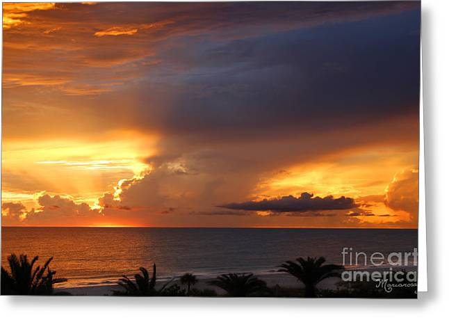 Threatening Sunset Greeting Card by Mariarosa Rockefeller