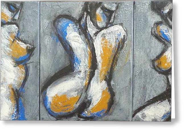 Three Abstracted Beauties - Triptych Greeting Card