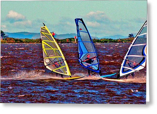 Three Amigo Windsurfers Greeting Card