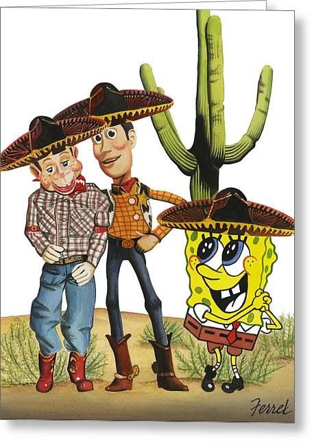Greeting Card featuring the painting Three Amigos by Ferrel Cordle