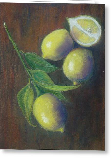 Three And A Half Lemons Greeting Card by Ellen Minter