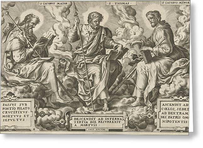 Three Apostles James The Greater, Thomas And James The Less Greeting Card by Pieter Van Der Heyden And Peter De Vos Ii And Hieronymus Cock