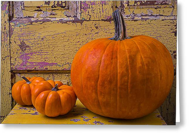 Three Autumn Pumpkins Greeting Card by Garry Gay