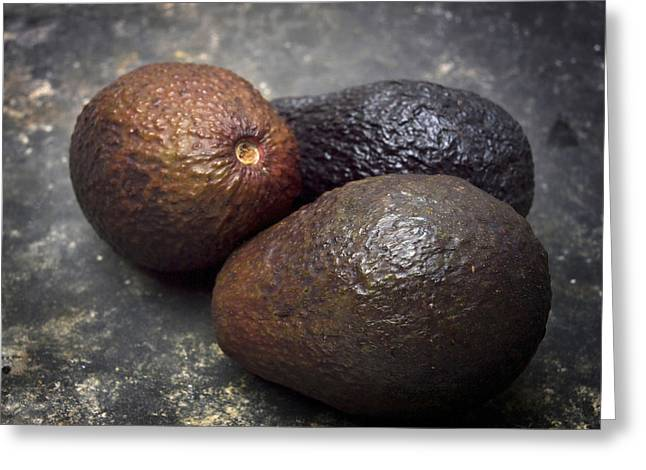 Three Avocados. Greeting Card by Bernard Jaubert