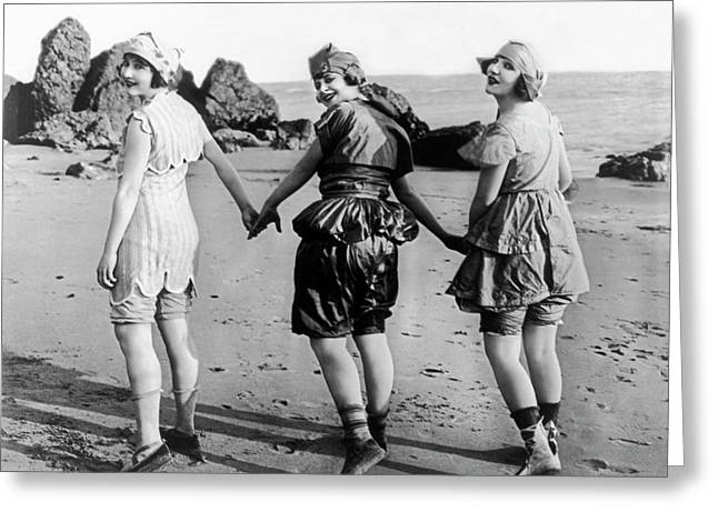 Three Bathing Beauties Greeting Card by Underwood Archives