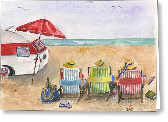 Three Beach Camping Amigos Greeting Card