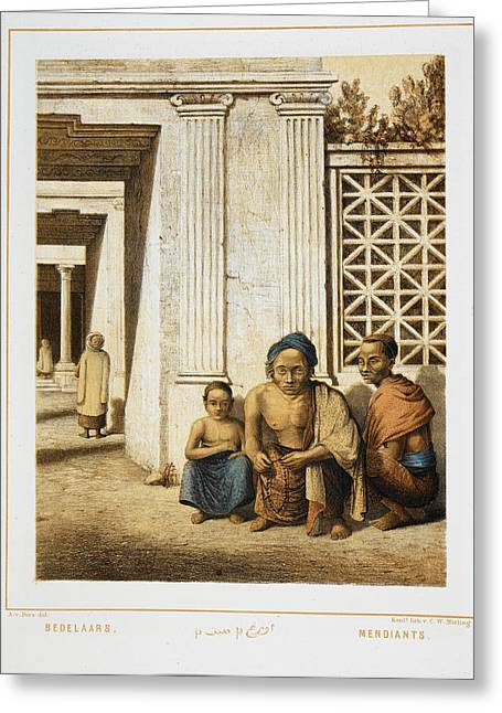 Three Beggars. Indonesian People Greeting Card by British Library