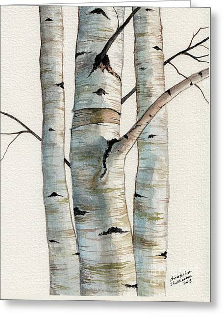 Three Birch Trees Greeting Card