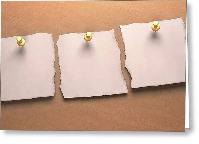 Three Blank Pieces Of Paper Greeting Card
