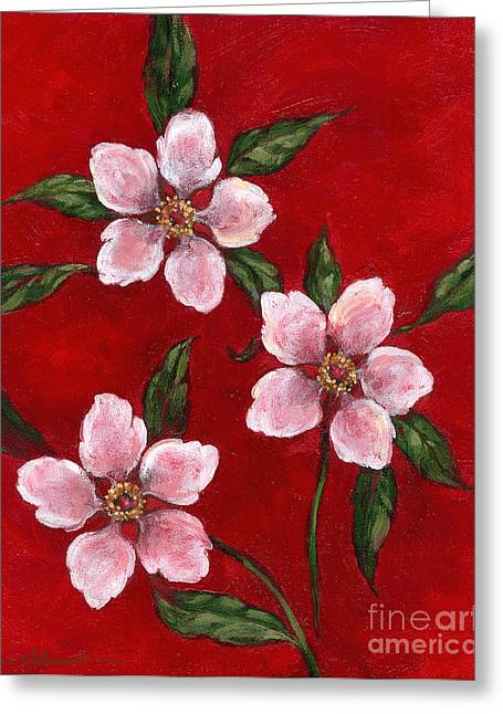 Three Blossoms On Red Greeting Card