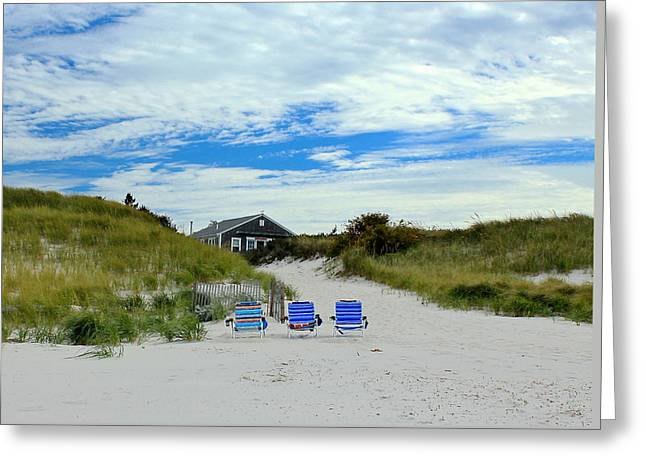 Greeting Card featuring the photograph Three Blue Beach Chairs by Amazing Jules