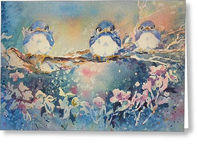 Three Blue Birds Greeting Card